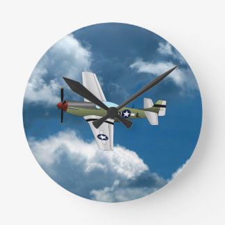 P51 Mustang Airplane Clock