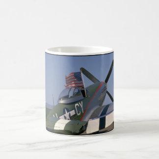 P51 Mustang, Rear View.(flag)_WWII Planes Coffee Mug
