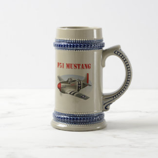P51 Mustang Silver-Red Plane Beer Stein
