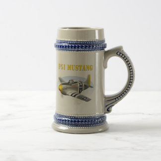 P51 Mustang Silver-Yellow Plane Beer Stein