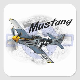 P51 Mustang Square Sticker