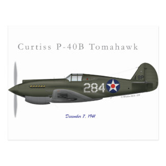 P-40B Defense of Pearl Harbor Postcard