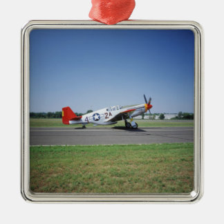 P-51 C Tuskegee Red Tail airplane at the CAF Air Silver-Colored Square Ornament