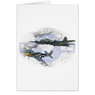 P-51 Mustang flying escort Card