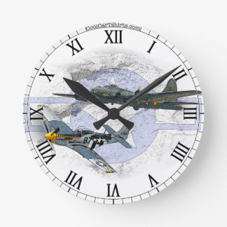 P-51 Mustang flying escort Round Clock