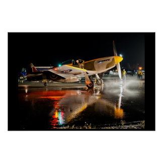 P-51 Mustang on Wet Tarmac Poster