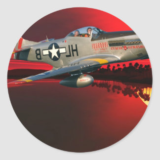 P-51 MUSTANG ROUND STICKER