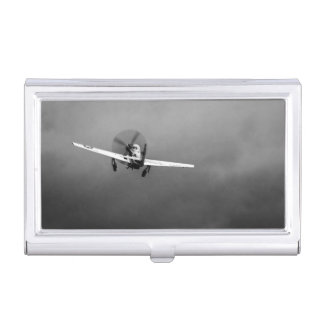 P-51 Mustang takeoff in storm Business Card Holder