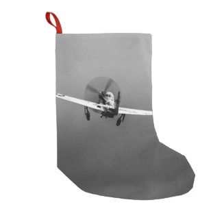 P-51 Mustang takeoff in storm Small Christmas Stocking