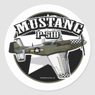 P-51D Mustang Classic Round Sticker