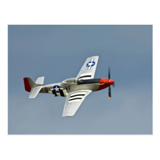 P-51D Mustang Fighter with D-Day markings flying Postcard