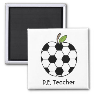 P.E. Teacher Soccer Ball Apple Magnet
