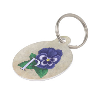 P for Pansy Floral Alphabet Monogram Pet ID Tag
