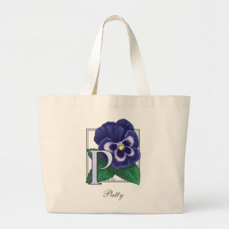 P for Pansy Flower Monogram Large Tote Bag