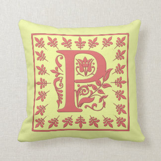 P INITIAL PILLOW - Letter P on YELLOW Background