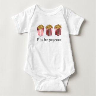 P is for Popcorn Caramel Corn Carnival Food ABCs Baby Bodysuit