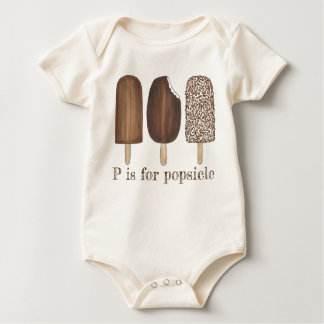 P is for Popsicle Chocolate Ice Cream Pops Foodie Baby Bodysuit