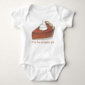 P is for Pumpkin Pie Thanksgiving Slice Dessert Baby Bodysuit