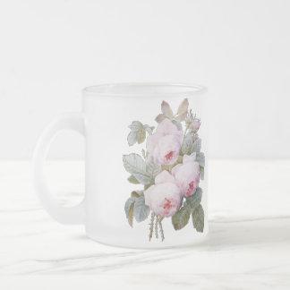 P.J. Redoute Bourbon Rose Bouquet 10 Oz Frosted Glass Coffee Mug