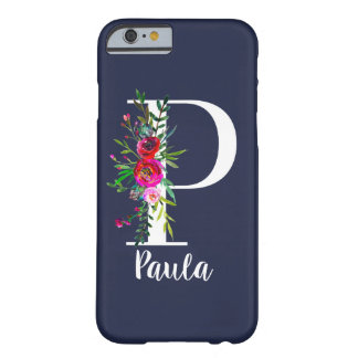 P Letter Initial Monogram Floral Custom Color Name Barely There iPhone 6 Case