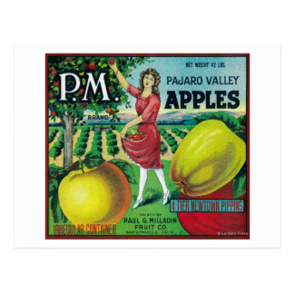 P.M. Apple Crate LabelWatsonville, CA Postcard
