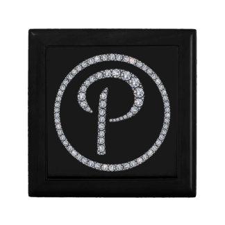 P Monogram bling ring gift box
