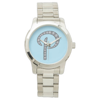 P monogram bling wristwatch