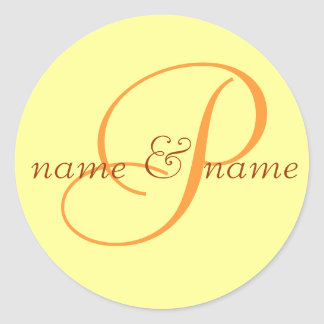 """P"" monogram label, personalize first names Classic Round Sticker"