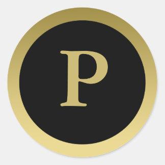 P :: Monogram P Elegant Gold and Black Stickers