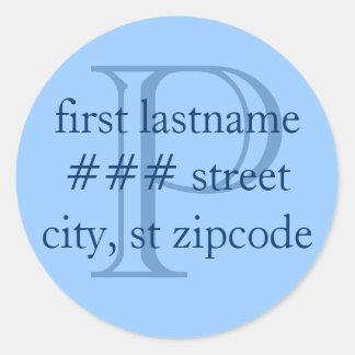 """P"" monogram return address labels - personalize"