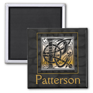 "P Name Monogram ""Celtic Black Stone"" Square Magnet"
