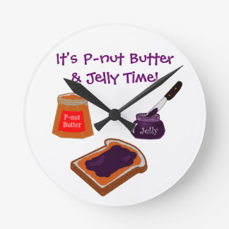 P-nut Butter & Jelly Time Round Clock