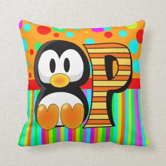 P Penguin name initial Throw Pillow