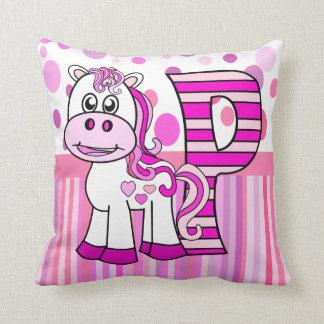 P Pony kid's name initial Throw Pillow