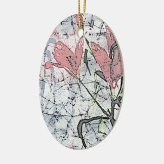 © P Wherrell Batik lilies in pink stylish trendy Ceramic Oval Ornament