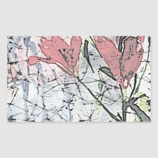© P Wherrell Batik lilies in pink stylish trendy Sticker