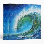 © P Wherrell Fine art oil painting wave ocean sea 3 Ring Binder