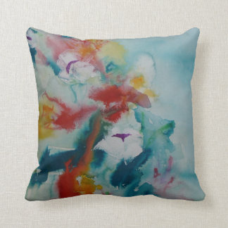© P Wherrell Waterlilies with colorful background Throw Pillow