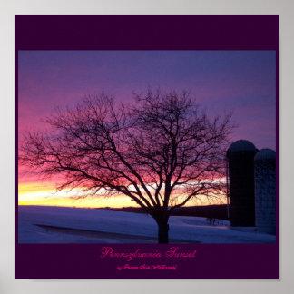 Pa Farm Sunset Poster