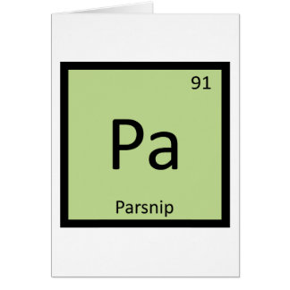 Pa - Parsnip Vegetable Chemistry Periodic Table Card