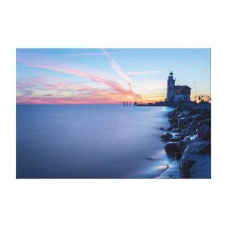 Paard van Marken lighthouse in a blue sunrise Canvas Print