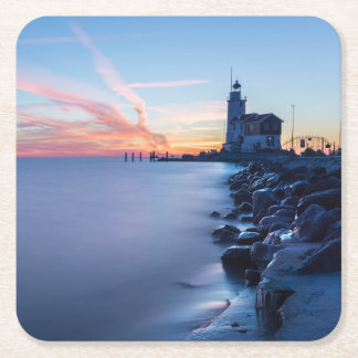 Paard van Marken lighthouse in a blue sunrise Square Paper Coaster