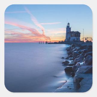 Paard van Marken lighthouse in a blue sunrise Square Sticker