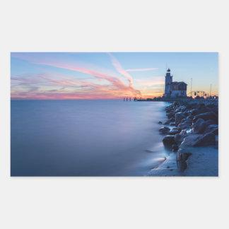 Paard van Marken lighthouse in a blue sunrise Sticker