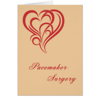 Pacemaker Surgery Card with Red Designer Heart