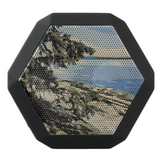Pacific Beach woodblock style Black Bluetooth Speaker