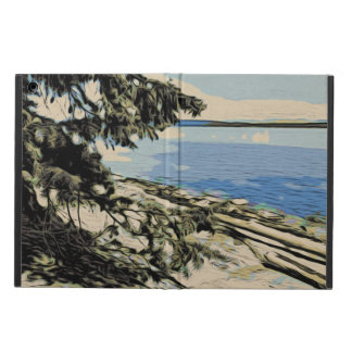 Pacific Beach woodblock style Cover For iPad Air