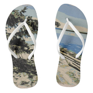 Pacific Beach woodblock style Flip Flops