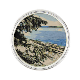 Pacific Beach woodblock style Lapel Pin