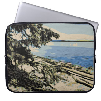 Pacific Beach woodblock style Laptop Sleeve